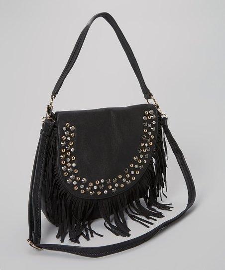 Black Studded Fringe Crossbody Bag Zulily