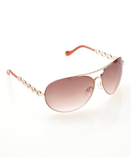 0bc54191f99 Jessica Simpson Collection Rose Gold Chain Aviator Sunglasses