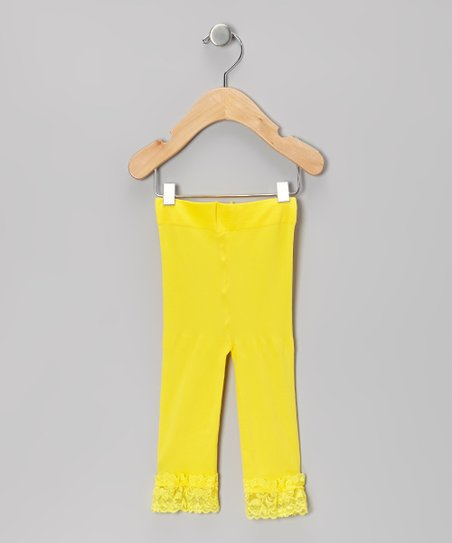 80a396ecef7d5 The Princess Pea Yellow Lace-Trim Leggings - Toddler & Girls | Zulily