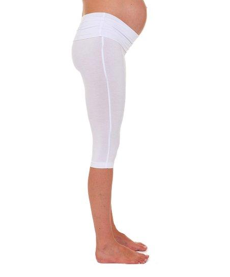 fd284ab98c1d3 Sono Vaso White Cari Under-Belly Maternity Capri Leggings   Zulily