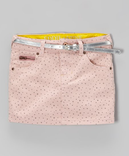 ee364d886 love this product Pink & Silver Polka Dot Belted Denim Skirt - Toddler &  Girls