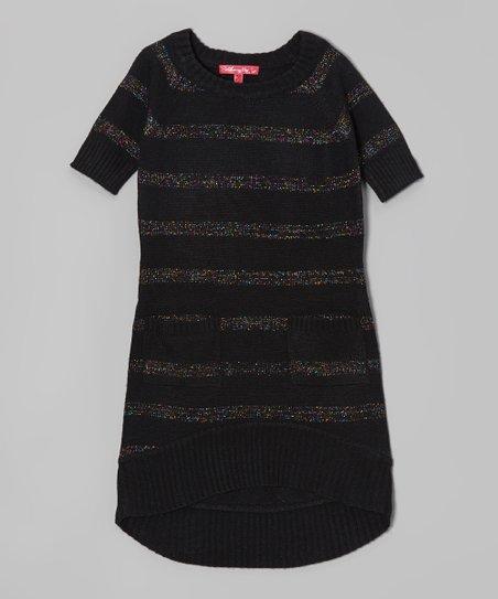 6e9cb33b90f Cherry Stix Black Shimmer Stripe Sweater Dress - Toddler   Girls ...