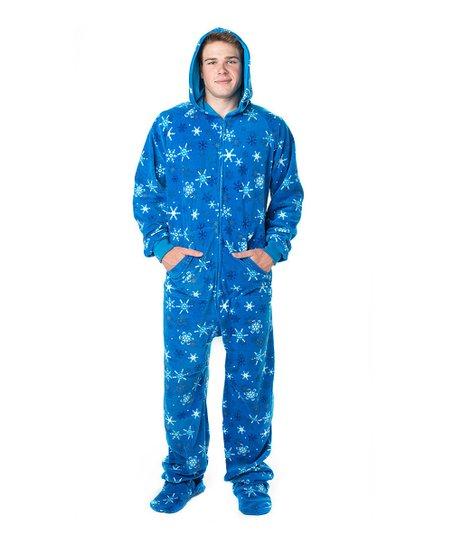 Footed Pajamas Blue Snow Day Hooded Footie Pajamas - Adult   Plus ... 25cfabdfc