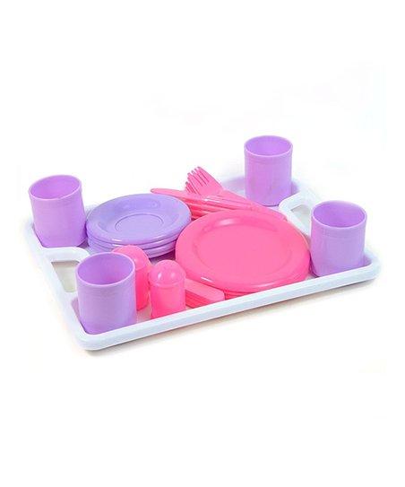 Pink Purple Play Kitchen Dinnerware Set