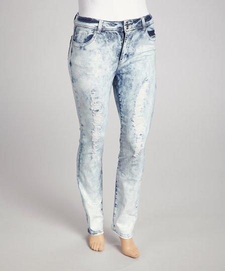 Light Blue Bleached Wash Destructed Skinny Jeans Plus