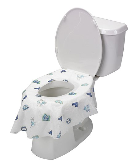Potty Shield White Blue Disposable Toilet Seat Covers Set Of 20