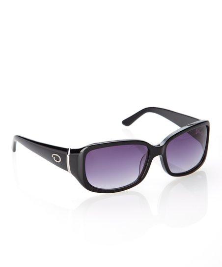 b420d908918c O by Oscar de la Renta Black Rectangle Bar Hinge Logo Sunglasses ...