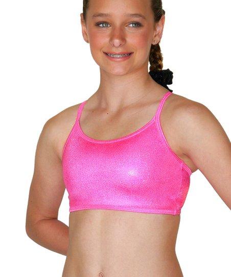 eae6ac1aa06b5 TumbleWear Hot Pink Sparkle Crisscross Sports Bra - Girls
