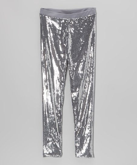 c08d3e08 California Talk Silver Sequin Leggings - Girls | Zulily