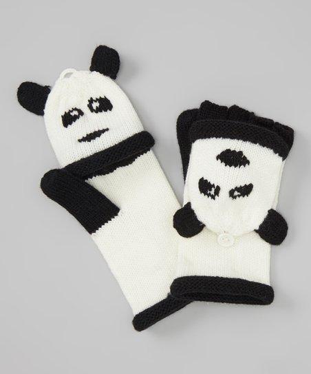 4590bc23264 Capelli New York Ivory Panda Convertible Mittens