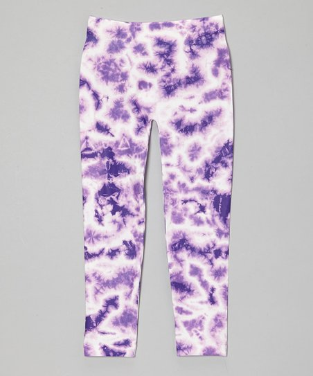 428f5224c60a85 Chances R Girls Purple Tie-Dye Leggings   Zulily