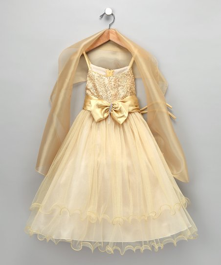 033dc1f1 Chic Baby Gold Bow Dress & Shawl - Toddler & Girls | Zulily