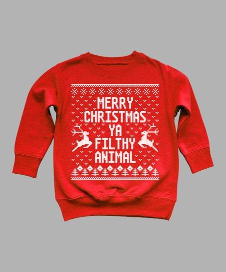 7fc4c0c27 love this product Red 'Merry Christmas Ya Filthy Animal' Crewneck Sweatshirt  - Toddler & Kids