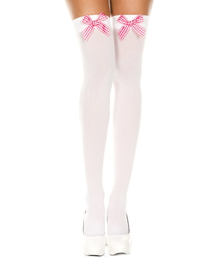 dd02790b0 love this product White   Pink Gingham Bow Thigh High Stockings