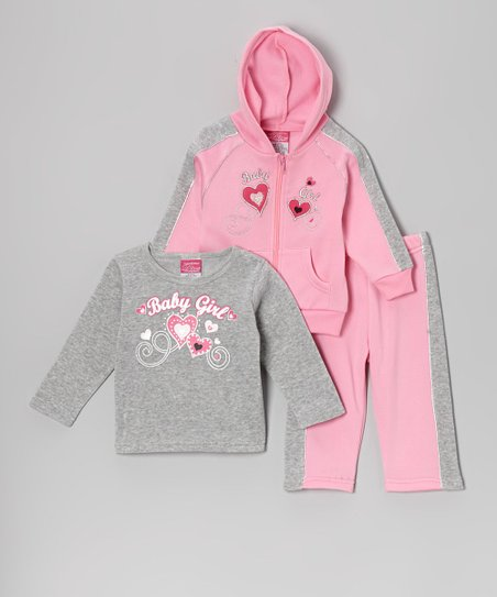 74c50e6a7 love this product Pink & Gray 'Baby Girl' Fleece Hoodie Set - Toddler