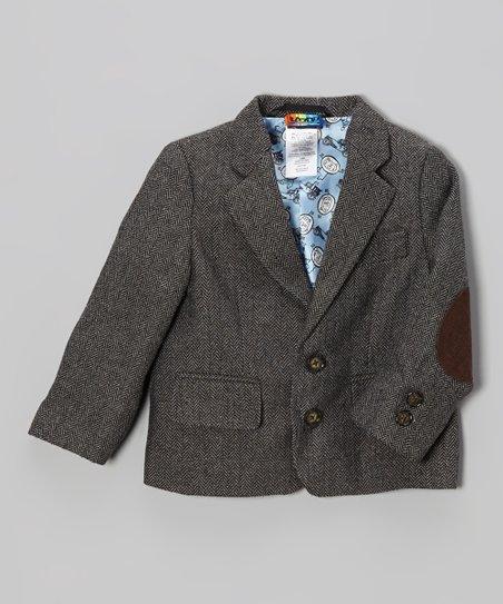 1127b596b Lazoo Boys Brown Tweed Blazer - Toddler | Zulily