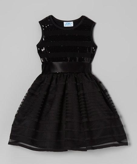 47cc5e63c681 Dreaming Kids Black Sequin Dress - Infant, Toddler & Girls   Zulily