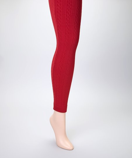 8404733385ac8 MOPAS Dark Red Cable-Knit Fleece-Lined Footless Tights Set - Women ...
