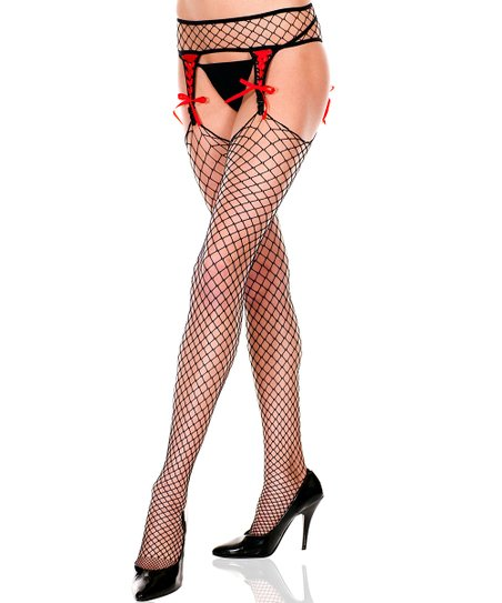 bf54140fa26 love this product Black   Red Ribbon Diamond Net Garter Belt   Stockings -  Women