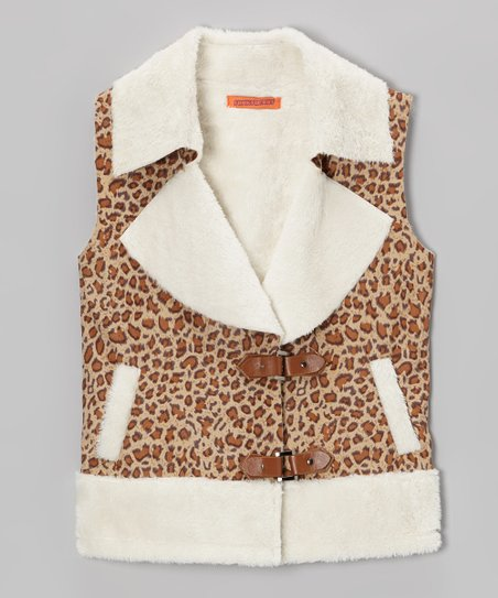 8b4d4df08ef Funkyberry Brown & White Leopard Buckle Vest - Toddler | Zulily