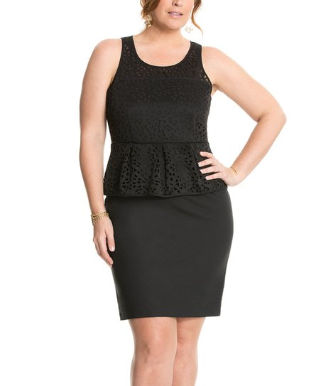 3fa31f7226a7f love this product Black Laser-Cut Peplum Dress - Plus