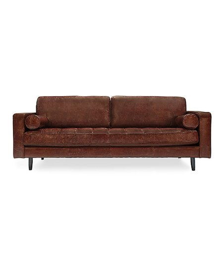 Volo Brown Freeman Distressed Leather Sofa   Zulily