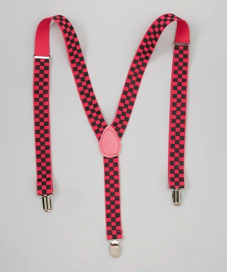 LA Sun Fuchsia & Black Checkerboard Suspenders
