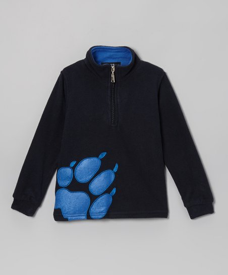 1a43937ceb love this product Blue   Black Paw Print Fleece Pullover - Toddler   Boys