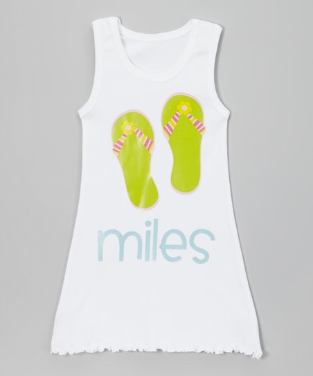 35c5f91cc485 love this product White Flip-Flop Personalized Tank Dress - Toddler   Girls