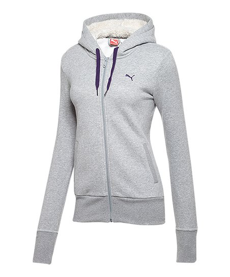 18259cceae PUMA Athletic Gray Heather Core Sherpa Fleece Zip-Up Hoodie - Women