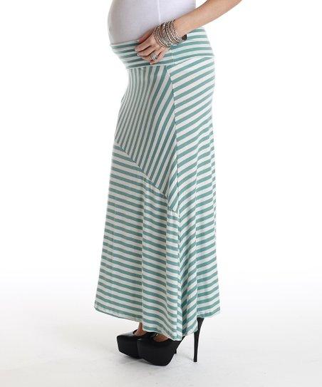 cf0647799ed7b PinkBlush Maternity Baby Blue & White Stripe Maternity Maxi Skirt ...