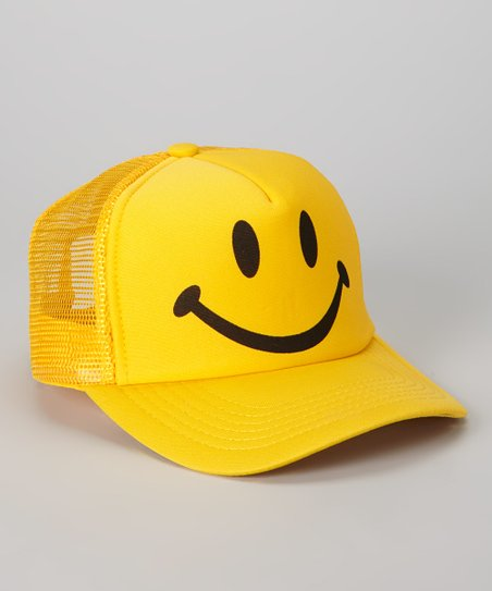 5c9b286d54764 Hollywood Mirror Yellow   Black Smiley Face Trucker Hat