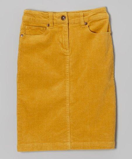 1c3ee02a3e6571 MeMe Apparel Mustard Corduroy Pencil Skirt - Girls | Zulily