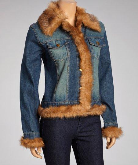 Moka Apparel Indigo Faux Fur Denim Jacket Women Zulily