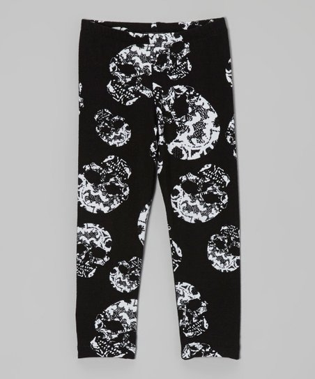 9229dfed8356d Dreaming Kids Black Skull Leggings - Toddler & Girls | Zulily