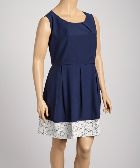 b7a74d2da40 love this product Navy   White Lace Hem A-Line Dress - Plus