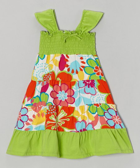 92dfe6ceb9ef Coral   Reef Lime Blossom Tiffany Swing Dress - Toddler
