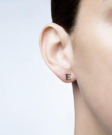 14k Gold Initial Stud Earring