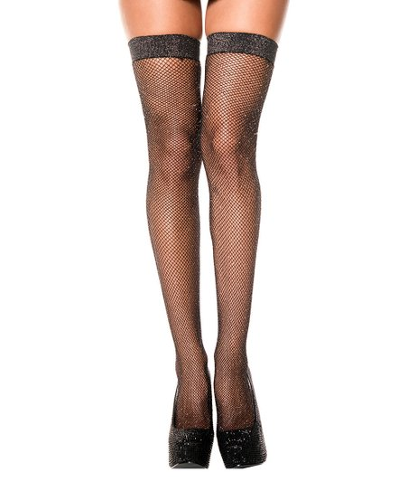 06248c70c3f24 love this product Black & Silver Shimmer Fishnet Thigh-High Stockings -  Women