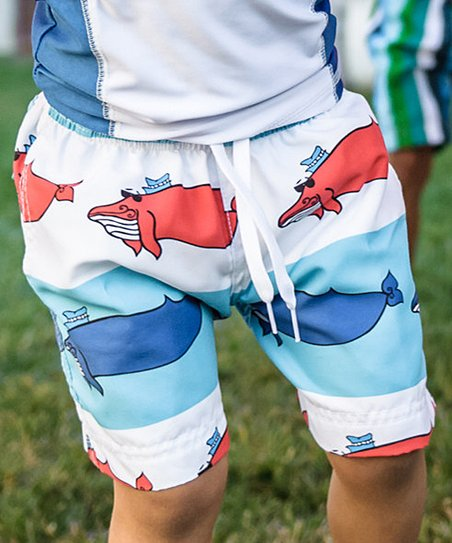 f1773ae824 Azul Swimwear Red & Blue Whale Swim Trunks - Infant & Boys | Zulily