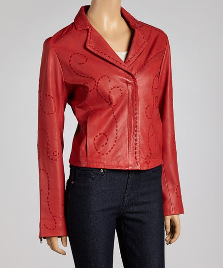 e4412e2e7 Scully Red Embroidered Leather Jacket - Women