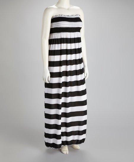 Sassy Wahine Black & White Stripe Strapless Plus-Size Maxi Dress
