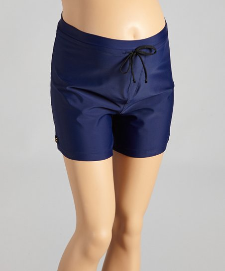 e94e05c714 Ilant Maternity Swimwear Navy High-Waist Maternity Boardshorts ...