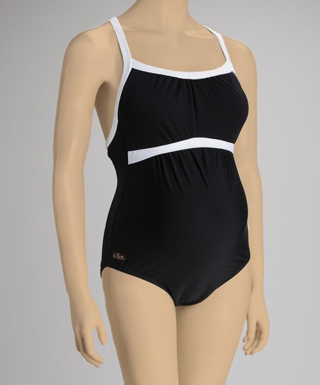 c25c0b0220 love this product Black & White Gathered Racerback Maternity One-Piece -  Women
