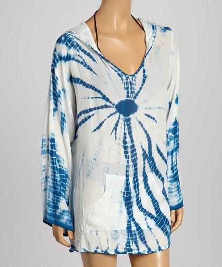 705a1adf5f love this product Royal Blue & White Tie-Dye Baja Hoodie - Women