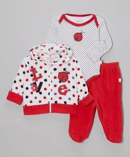 d69343fe7 Duck Duck Goose Red & White Ladybug Love Bodysuit Set - Infant   Zulily