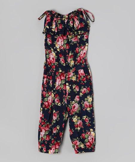 1af38672e2d Di Vani Black   Red Floral Ruffle Tie Jumpsuit - Girls