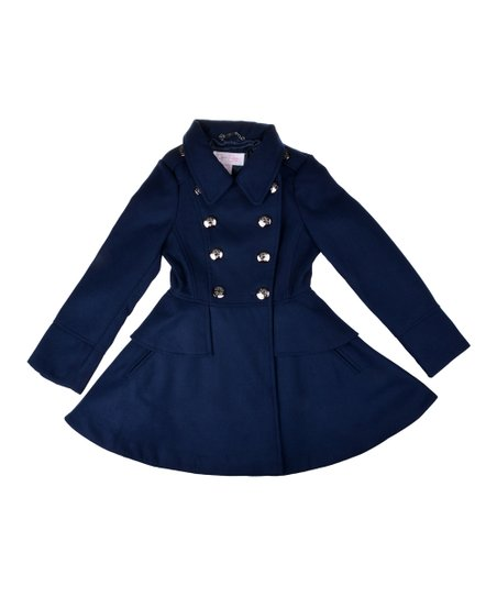 006a7f1853ab Jessica Simpson Collection Navy Double-Breasted Skirted Peacoat ...