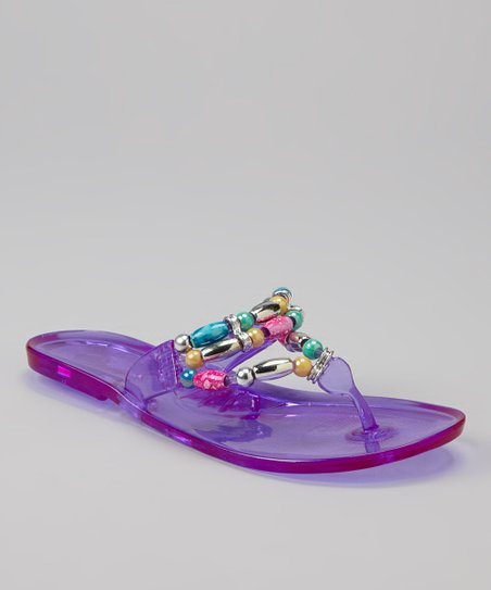 405fa3b2e love this product Purple Beaded Jelly Sandal