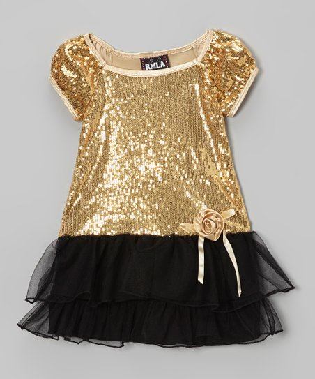 3170a2e50e77 love this product Gold & Black Sequin Dress - Toddler & Girls